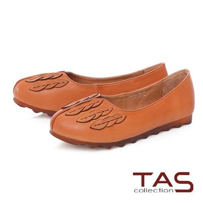 TAS立體葉子羊皮娃娃鞋-焦糖棕
