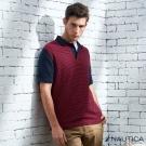 Nautica 紳士時尚百搭條紋短袖POLO衫-紅藍