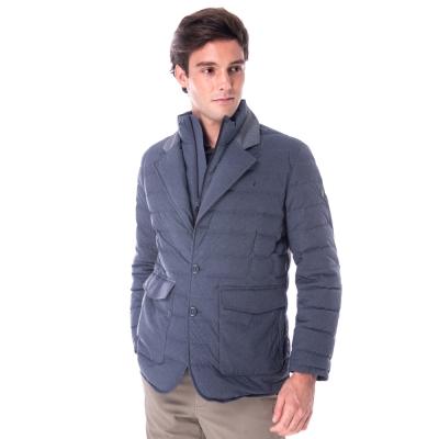 【hilltop山頂鳥】男款超撥水保暖蓄熱羽絨短大衣F22MT6藍