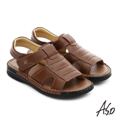 A.S.O 都會休閒 全真皮寬楦手縫氣墊涼拖鞋 茶色