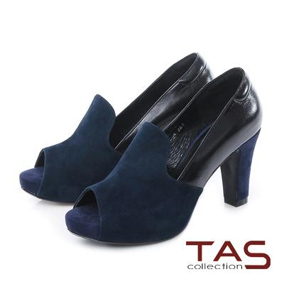 TAS 雙色異材質拼接魚口高跟鞋-知性藍