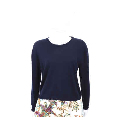 ALLUDE 深藍圓領毛邊設計針織羊毛衣(100%WOOL)