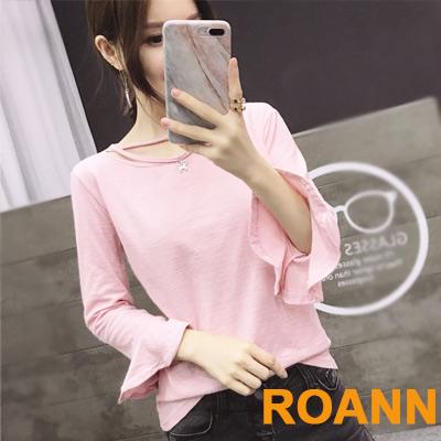 縷空領口小貓咪裝飾七分袖T恤 (共四色)-ROANN