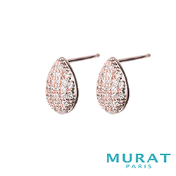MURAT Paris米哈巴黎 璀璨滿鑽水滴耳環(玫瑰金)