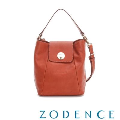 ZODENCE 義大利植鞣革系列掀蓋轉釦設計肩背/托特包 橘紅