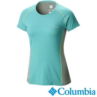 【Columbia哥倫比亞】女-酷涼快排防曬30短袖上衣-藍灰 UAL65800GL