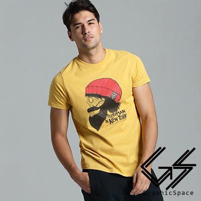 紅毛帽鬍子骷髏磨毛水洗T恤 (共三色)-GraphicSpace