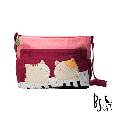 ABS貝斯貓 可愛貓咪拼布 肩背包 斜揹包 (暗紅) 88-213