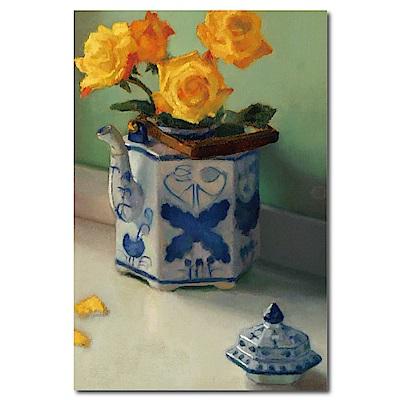 橙品油畫布-單聯式直幅 掛畫無框畫 女孩的黃玫瑰 40x60cm
