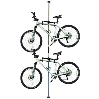 台灣製造第二代頂天立地自行車立車架車桿吊車柱停車架藍