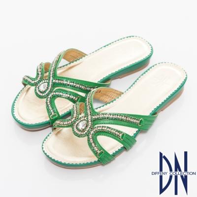DN-閃亮吸睛-羊皮水鑽寶石平底拖鞋-綠