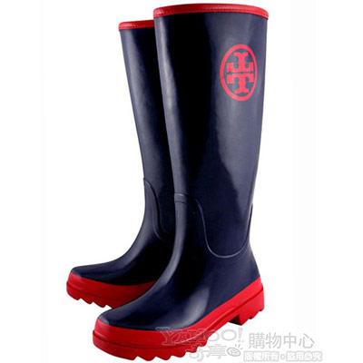 TORY BURCH 海軍藍色經典LOGO時尚雨靴【6號】