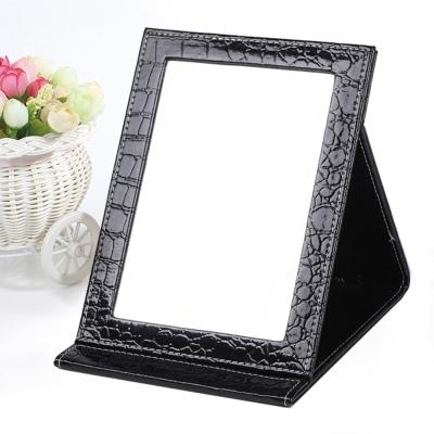 幸福揚邑 9吋超大皮革折疊鏡時尚質感隨身彩妝美妝化妝鏡/桌鏡(鱷皮紋黑色)