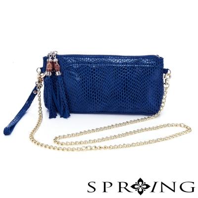 SPRING-真皮鍊條晚宴包-藍