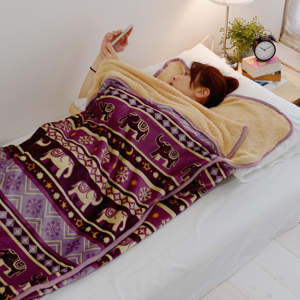 絲薇諾  大象遊行 法蘭絨羊羔絨睡袋毯