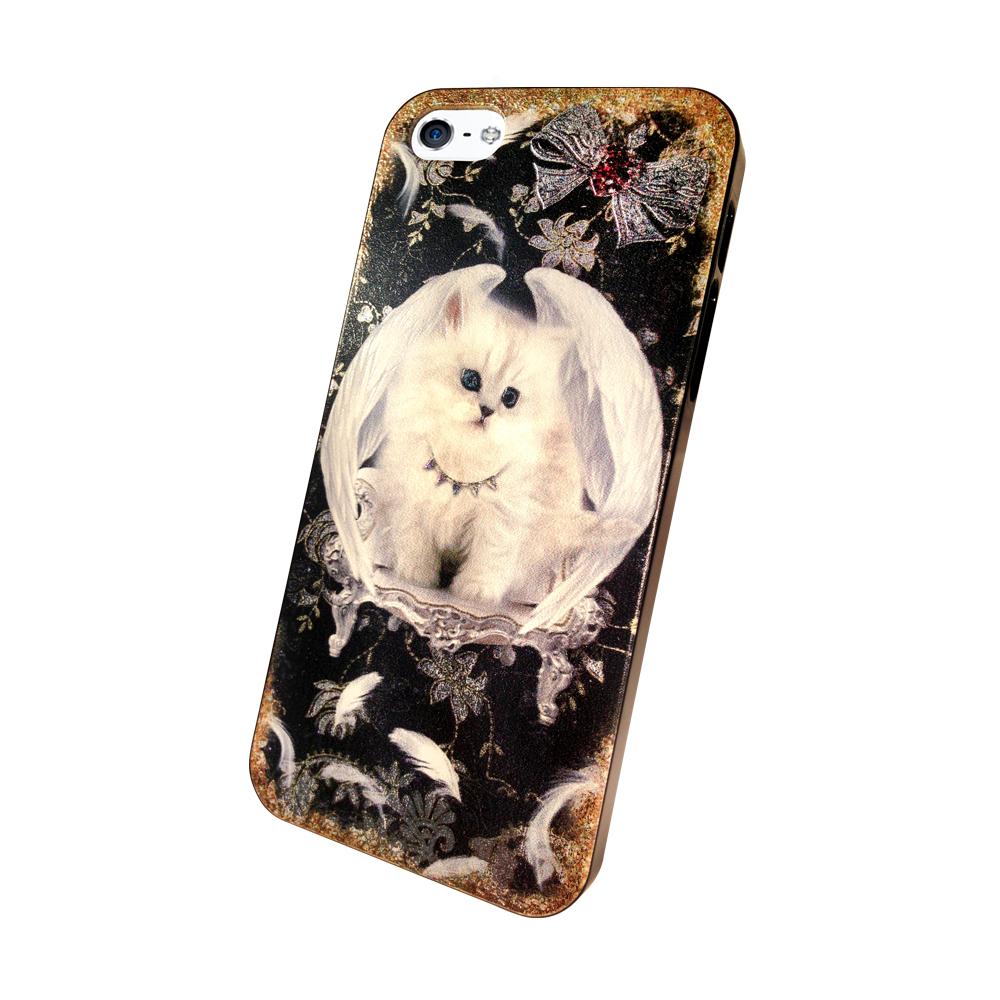 ibowmore iphone 5S / SE/5 彩繪設計款手機殼(貓咪小天使-黑)