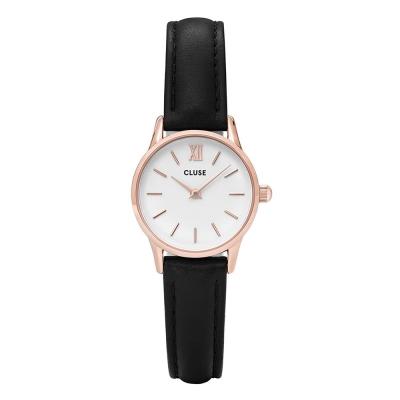 CLUSE荷蘭精品手錶VEDETTE系列 白錶盤玫瑰金框黑色皮革錶帶24mm