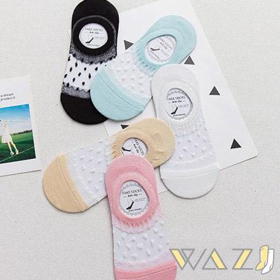 Wazi-小蕾絲邊點點透膚隱形襪 (1組五入)