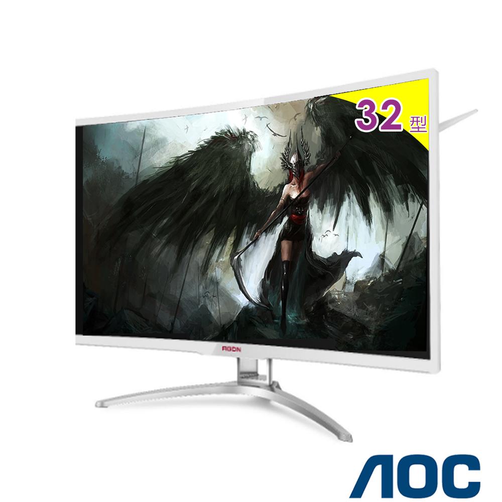 AOC AG322FC 32型VA曲面電競螢幕-白色