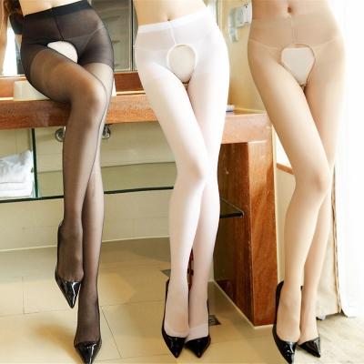 褲襪 秘密情人薄透雙開襠褲襪 黑膚白 XOXOXO