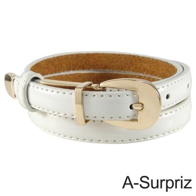 A-Surpriz 甜美氣質牛皮底細版腰帶(優雅白)