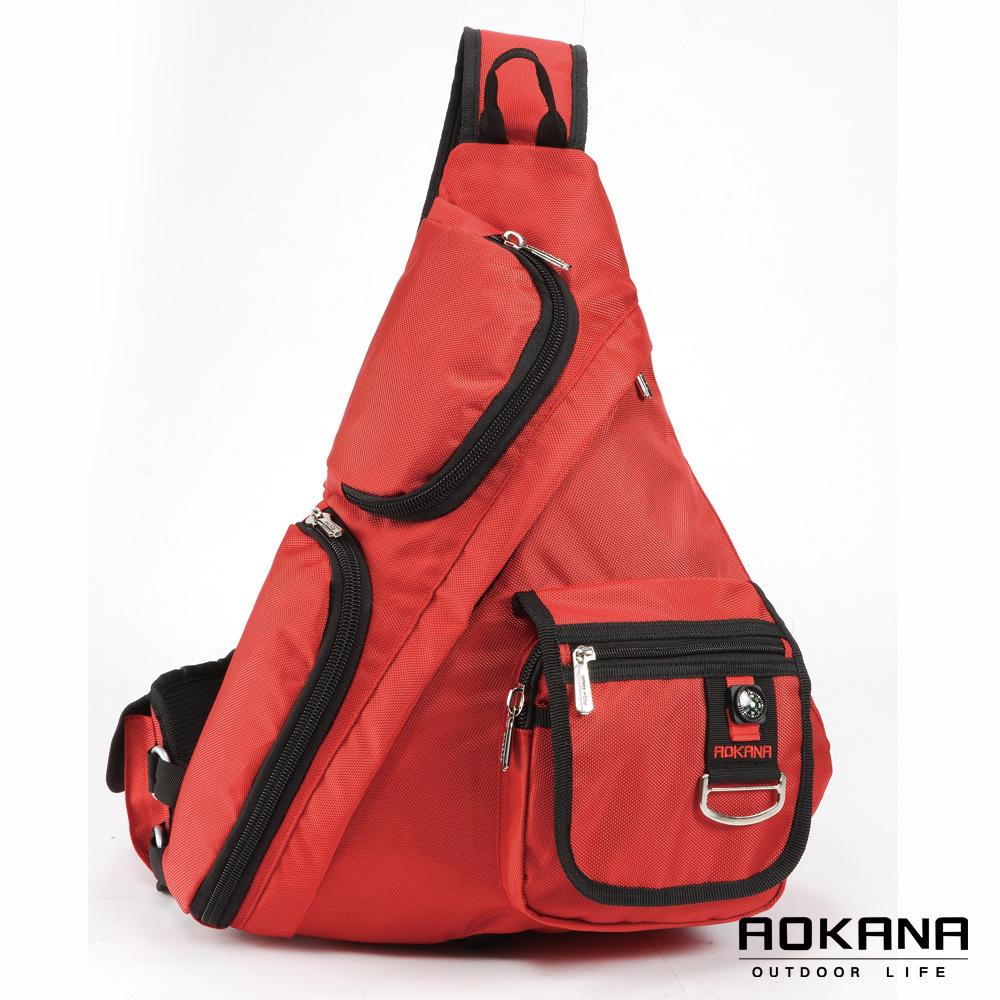 AOKANA奧卡納 輕量防潑水護脊紓壓機能單肩背包(亮彩紅)68-052