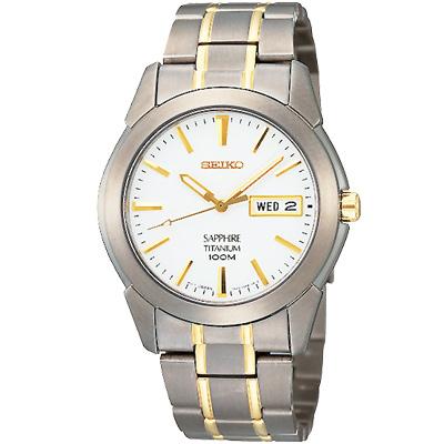 SEIKO 精工超輕量鈦金典藏時尚腕錶(SGG733P1)-白/37mm