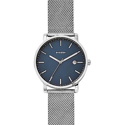 SKAGEN Ancher 創意簡約石英米蘭手錶(SKW6327)-藍x銀/40mm
