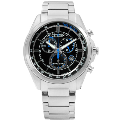 CITIZEN 時尚競速快感三眼計時光動能手錶(AT2130-83E)-黑/43mm