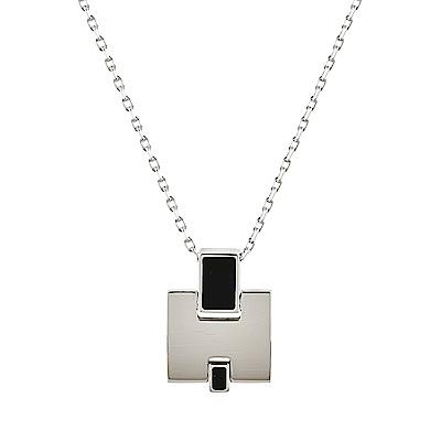 HERMES愛馬仕經典EILEEN系列H字母銀金屬LOGO鎖骨項鍊(黑X銀)