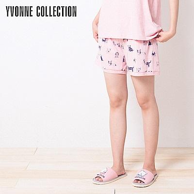 YVONNE手繪狗狗印花短褲-粉紅