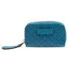 GUCCI 經典Guccissima GG壓紋牛皮拉鍊零錢包(藍綠色)