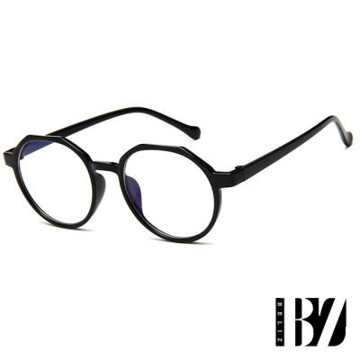 BeLiz 輕巧六角 中性塑料黑框平光眼鏡