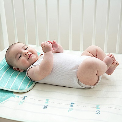 Baby unicorn 白綠大象涼感睡墊枕頭2件組