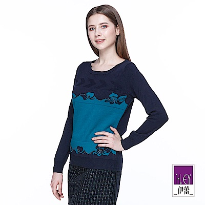 ILEY伊蕾 圖騰織紋配色羊毛針織上衣(藍)