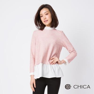 CHICA 嫩彩純淨異材質拼接小立領設計上衣(3色)
