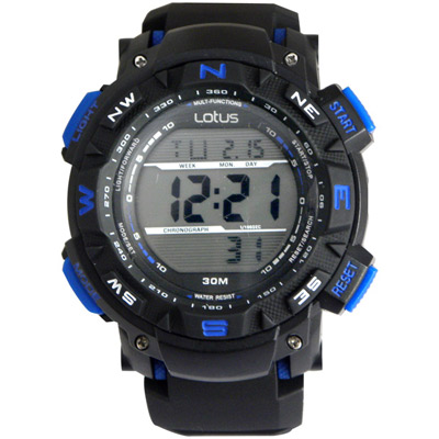 Lotus 探索自然 大徑面鬧鈴計時休閒錶(TP1326M-02)-黑藍46mm
