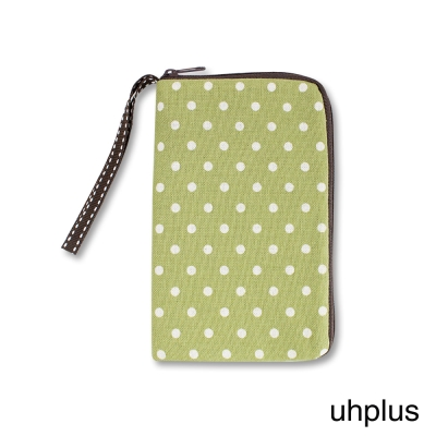 uhplus 3C加厚隨身收納包-復古綠點點