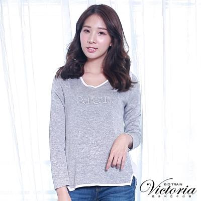 Victoria 銀蔥印貼鑽異材質拼接長袖T-女-淺灰