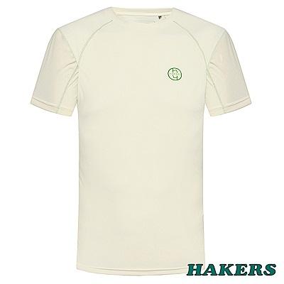 【HAKERS 哈克士】男款圓領短袖印花排汗衣-米白