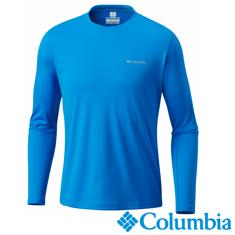 Columbia哥倫比亞 男款-防曬30快排長袖上衣-藍色 UAE60380BL