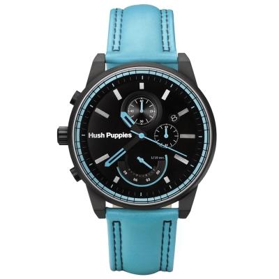 Hush Puppies 海灘男孩三眼計時腕錶-藍/45mm