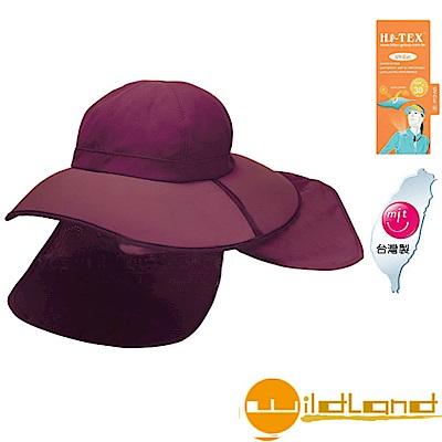 【荒野 WildLand】中性抗UV折疊式護頸遮陽帽.休閒帽_深芋色