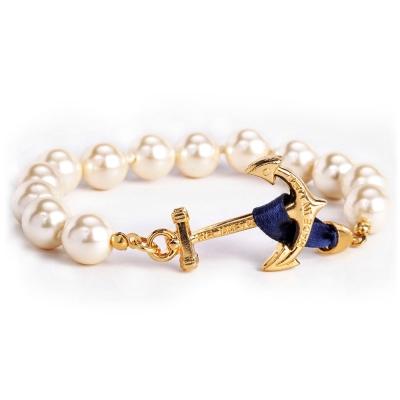 Kiel James Patrick 美國手工船錨大款珍珠 單圈手環手鍊-藍緞帶