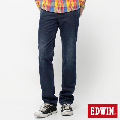 EDWIN 大尺碼高腰中直筒 輕鬆俐落基本五袋牛仔褲-男-拔淺藍