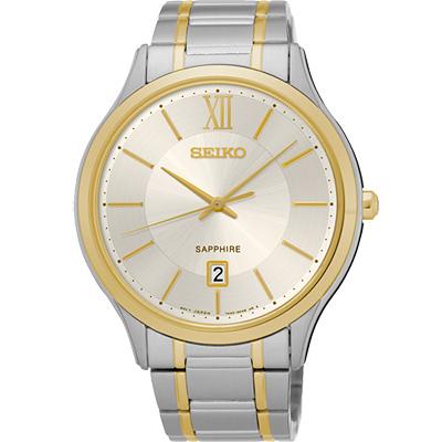 SEIKO 城市簡約美學時尚腕錶(SGEH54P1)-淡金x雙色版/42mm