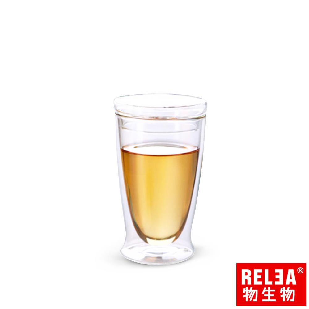 香港RELEA物生物200ml耐熱雙層含蓋玻璃杯