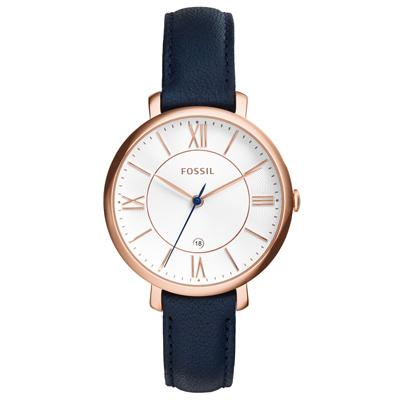 FOSSIL 網羅質感日期時尚腕錶-玫瑰金框白x深藍皮帶/36mm