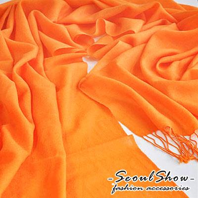 Seoul-Show-四季百搭-100-純羊毛圍巾-甜橙