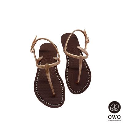 QWQ夾拖的創意(女) -璀璨面鑽涼鞋-咖啡色
